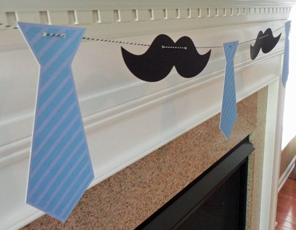 Party Banner: Little Man Tie and Mustache Garland - Baby Shower or Birthday Party - die cut mustaches ties