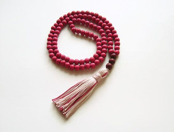 Raspberry pink tassel necklace jewelry Long pink by Aella Jewelry