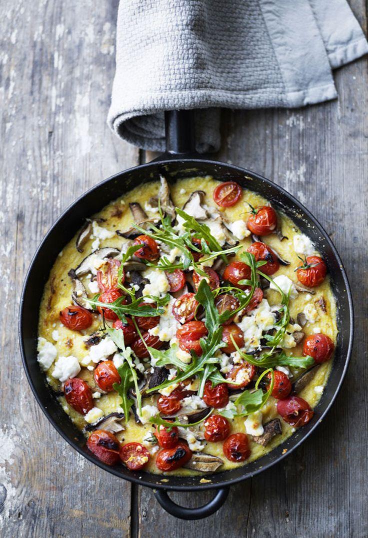 polenta bake w/ feta, tomato & mushrooms.