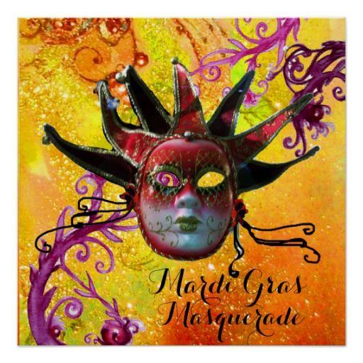 BLACK AND RED JESTER MASK , Masquerade Party Poster #karneval #carnevale #fineart #carneval #mardigras #joker #swirls