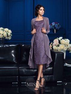 Etui-Linie Träger Ärmellos Chiffon Knielang Brautmutterkleider