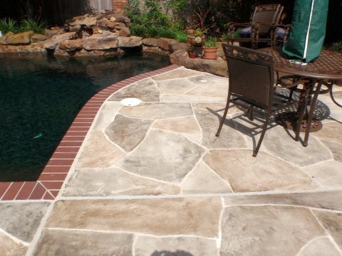 Concrete Overlay Houston ~ Like They Left The Brick Coping Idea For Back  Patio
