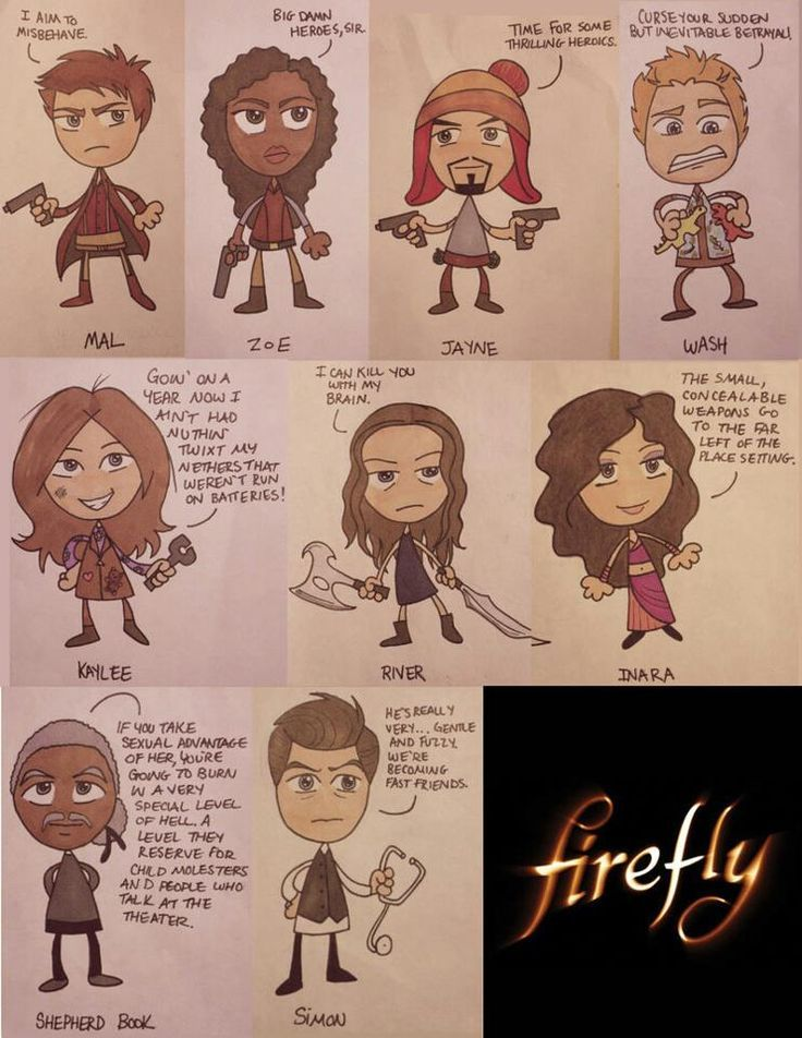 Hand-drawn Firefly characters and their famous lines.
