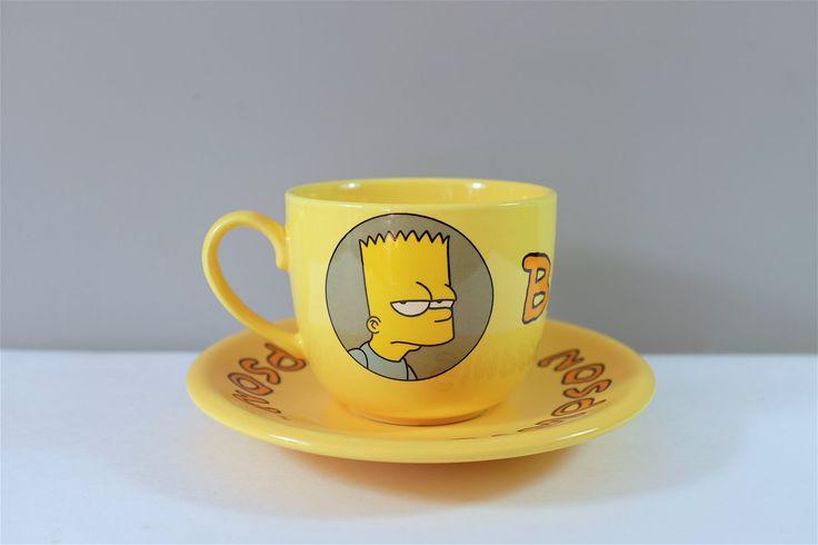 Grande tasse et soucoupe vintage en céramique Bart Simpson par Tropico Paris - Bol et soucoupe jaune retro The Simpson - Bol Simpson retro by Decadisme on Etsy