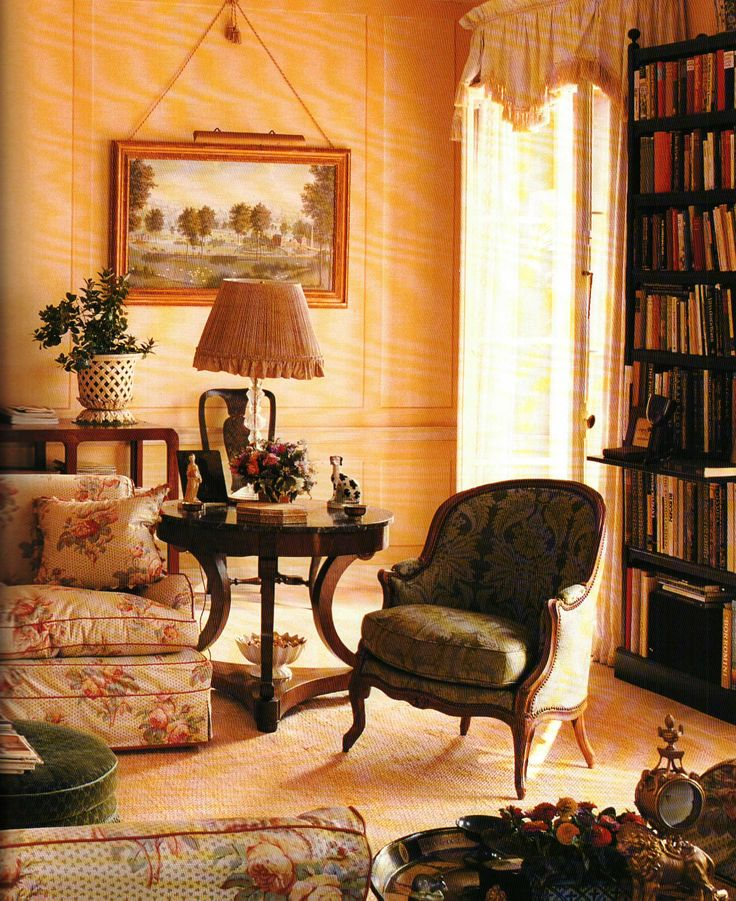 English Country sitting room with chintz sofa