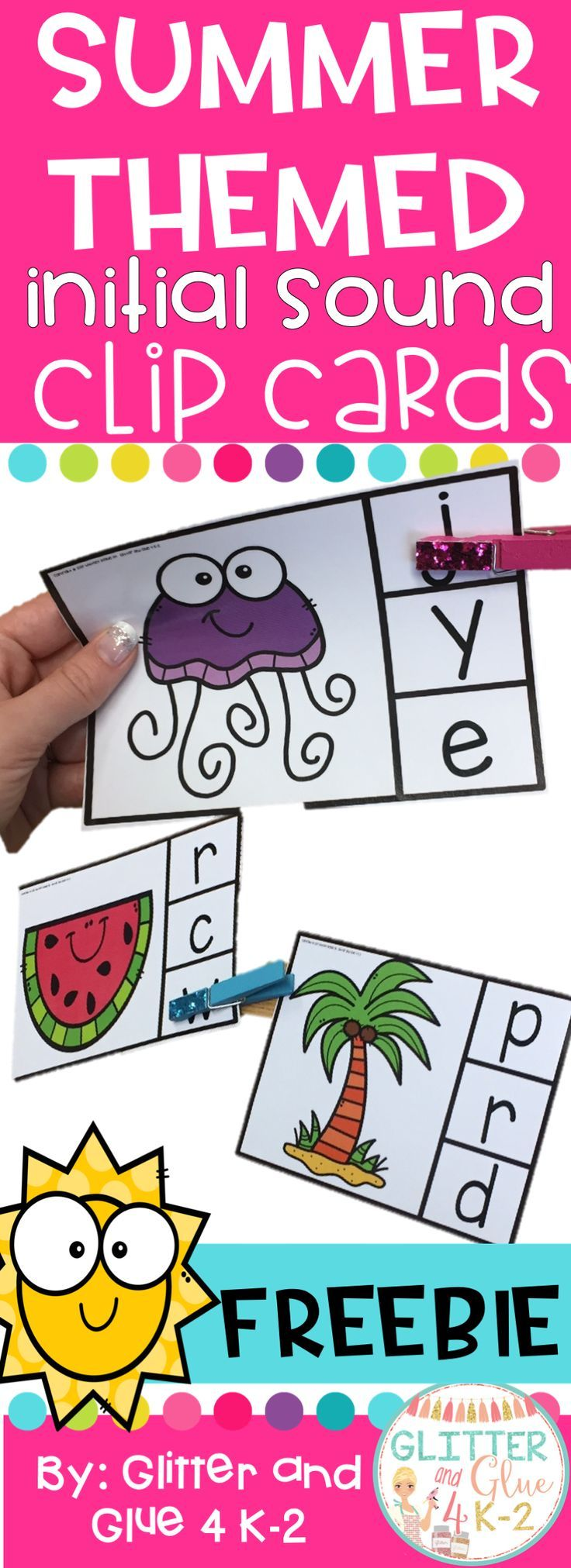 A fun freebie for your literacy centers! Reinforce students' fine motor and phonics skills with these fun and free clip cards! Students will clip the beginning sound of each word!Keywords: kindergarten, clip cards, centers, freebies, free, teachers