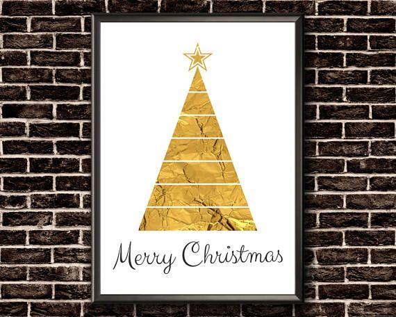 Merry Christmas Print  Christmas Tree Print  Gold Foil