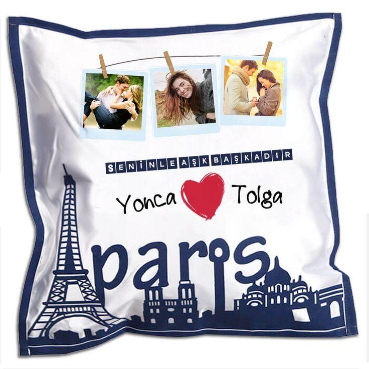 Kişiye Özel Seninle #Aşk Başkadır Romantik #sevgili  Yastığı #Paris #love #cute #romantic #romance #hediye
