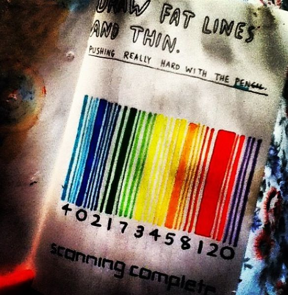 """LOVE the barcode idea for this page. I'll doing it in black and white and below I will write """"so many people are defined by fat and thin lines, like the price on a product"""" I made this quote and I think it fits well here (1)"""