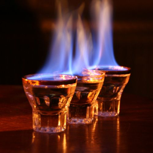 Flaming Dr Pepper Shot: Please, have a fire extinguisher handy.