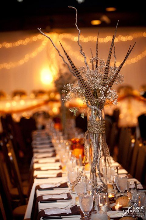Baby's Breath, Pheasant Feather, Curly Willow Centerpiece by Love & Lace