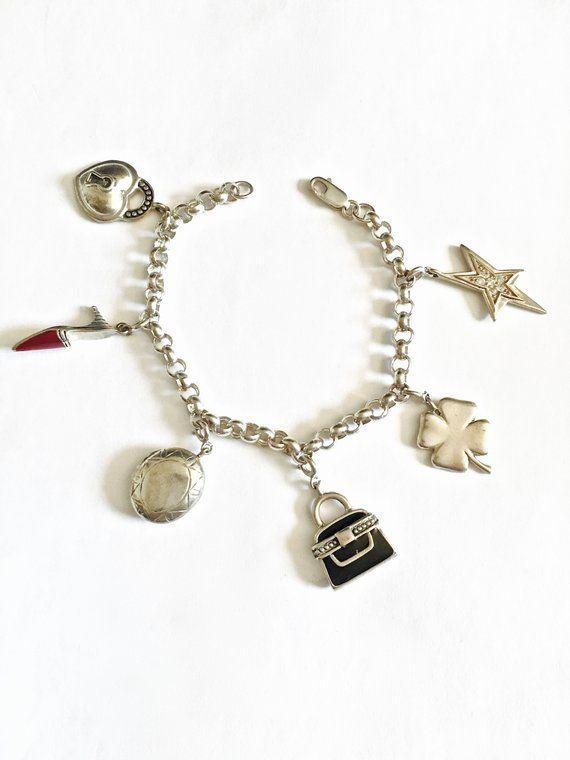1960s Sterling Elephant Link Bracelet 7.5 Inches Long