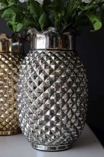 Antiqued Silver Foil Pineapple Vase