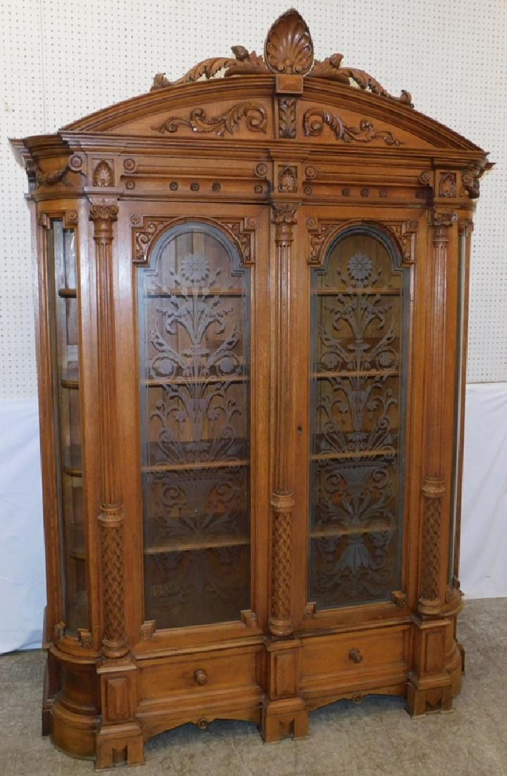 Auction company 751 walnut victorian marble top parlor table ca 1870 - Beautiful Carved Victorian Oak Etched Door Bookcase New Liveauctioneers Com