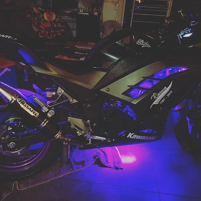 """""""LEDs I installed for a friend! """" Purple LEDs on Kawasaki Ninja 300"""