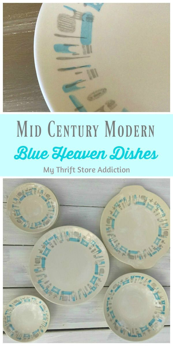 Fabulous find of the week-retro Royal China Blue Heaven mid century modern dishes available at Etsy Thrift Store Addiction!