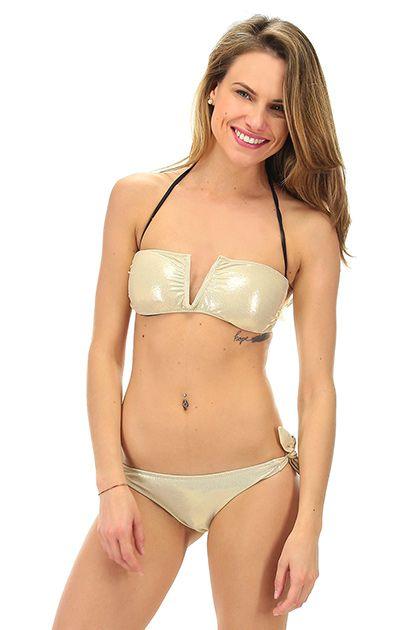 4giveness - Costumi da bagno - Abbigliamento - Costume da bagno a fascia imbottita con brasiliana con stampa a fantasia. La nostra modella indossa la taglia /EU S. - BRONZO - € 62.00