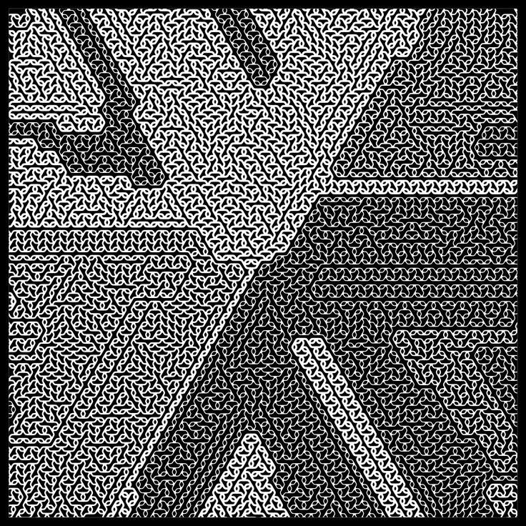 "'Signal & Noise 17-02-2017 #1 Black' © 2017 Titus Hora 150 x 150cm (54"" x 54"") digital print #abstract #procedural #parametric #generative"