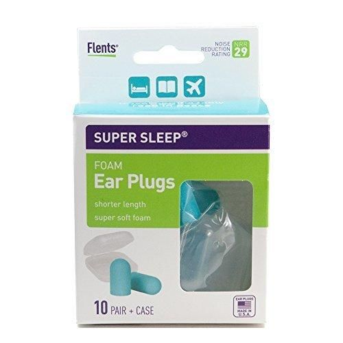 NEW! Super Sleep Comfort Foam Ear Plugs - 10 Pair  Carrying Case-Special Length for Sleeping on Your Side (Blue)