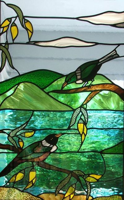 Native Tui and Kowhai in stained glass by Topshelf Leadlights. N.Z.