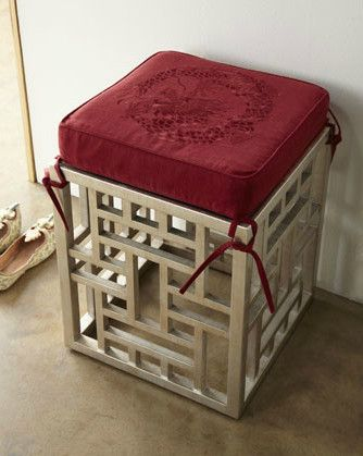 Fretwork Stool & Dragon-Embroidered Cushion asian ottomans and cubes