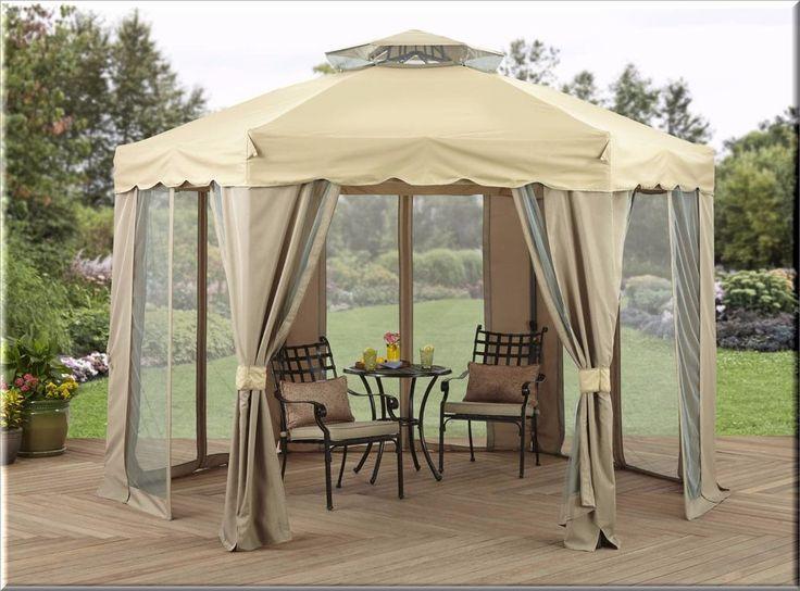 Outdoor Gazebo Canopy 12x12 Gilded Netting Enclosure Shelter Garden Backyard