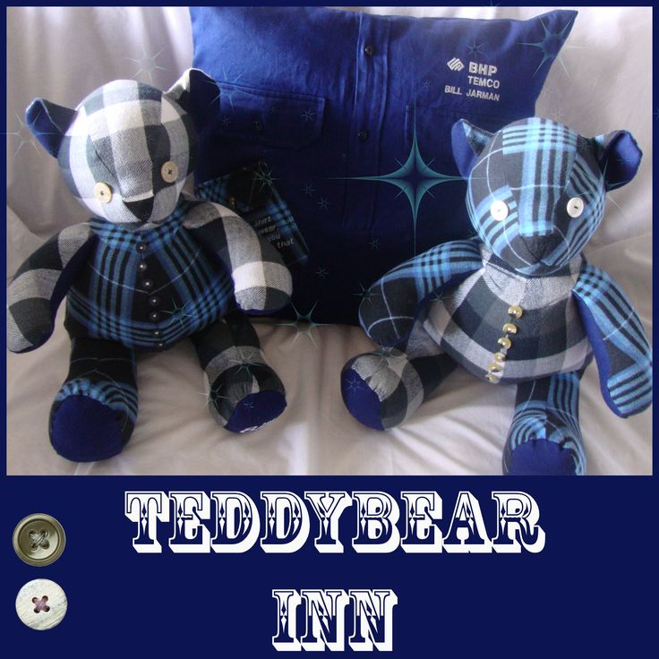 Memory Bears and Memory Cushion made from the favourite flannelette shirts and work shirt of a loved husband and father.