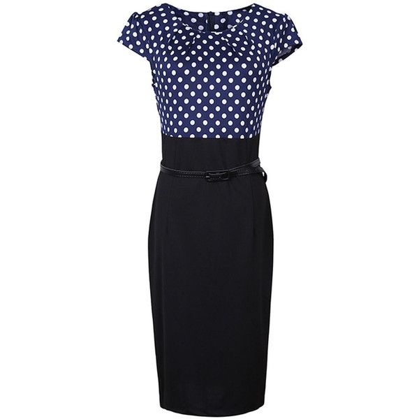 Polka Dot Round Neck Belt Bodycon Dress (2,035 INR) ❤ liked on Polyvore featuring dresses, polka dot dresses, body con dresses, body conscious dress, round neckline dress and polka dot bodycon dress