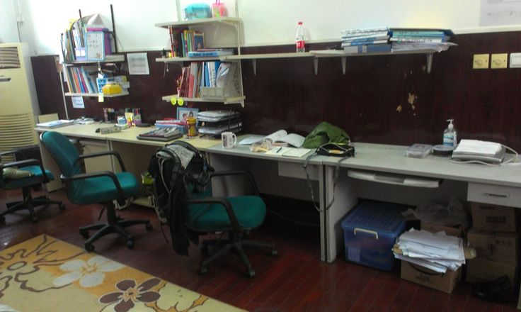 Last week's desk with coat over chair
