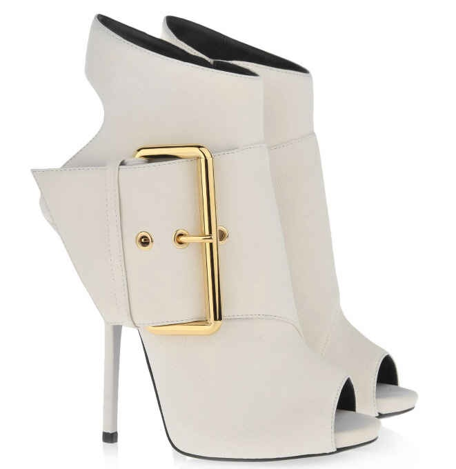 Giuseppe Zanotti White Leather Gold Buckle Bootie Spring 2013