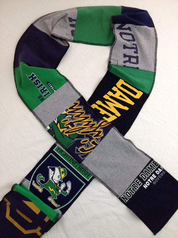 Notre Dame Fighting Irish upcycled unisex t-shirt scarf multicolor patchwork Eco friendly
