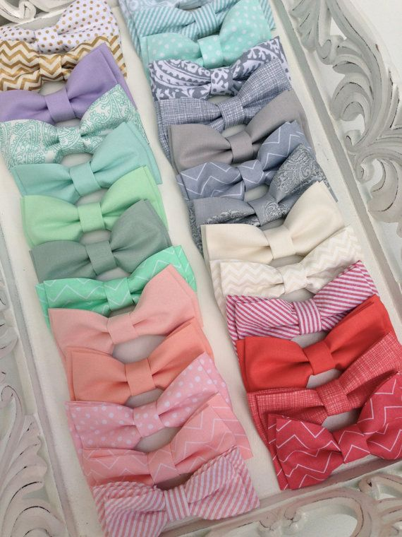 All kinds of different colored bow ties! MINT Peach Coral Grey and GOLD Bow Ties for by MiaLorenBoutique, $22.50 #wedding #groom #groomsmen