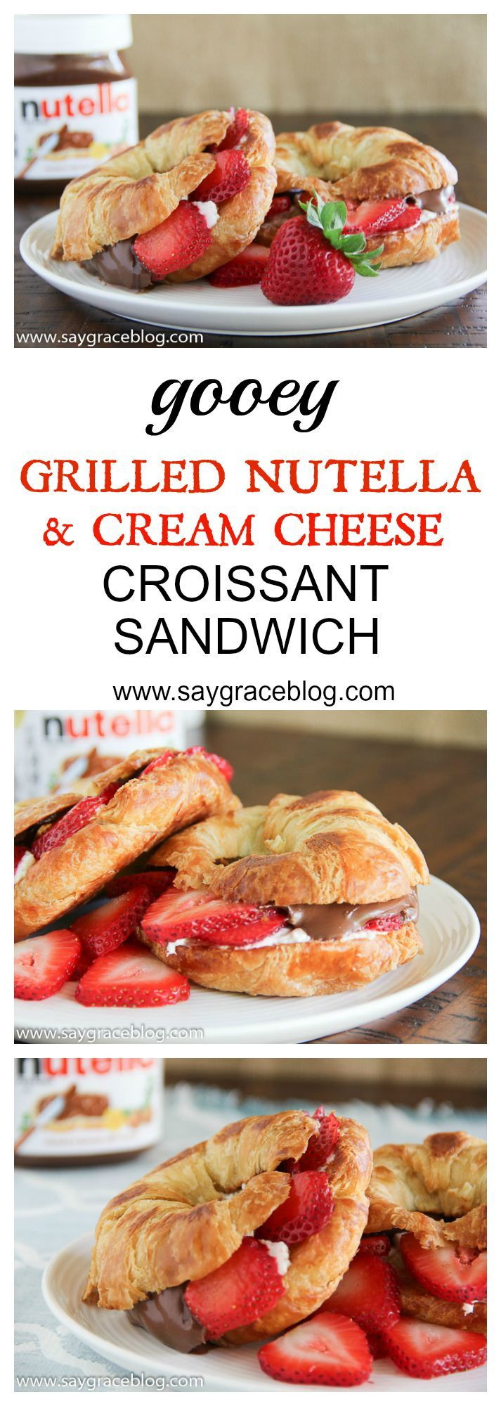 A chocolaty hazelnut spread meets cream cheese and fresh strawberries all grilled on a buttery croissant!