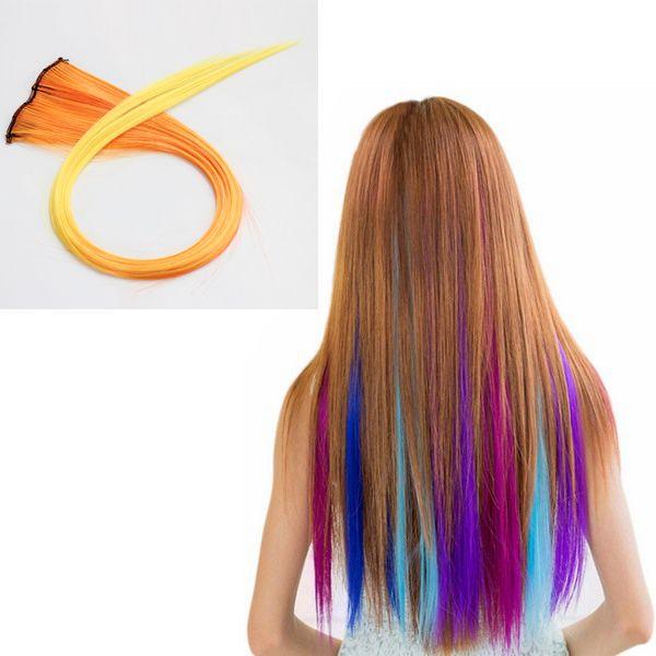 NAWOMI 1pcs 2 clip en calor ombre amarilla extensión del pelo sintético resistente amigable pedazo de cabello