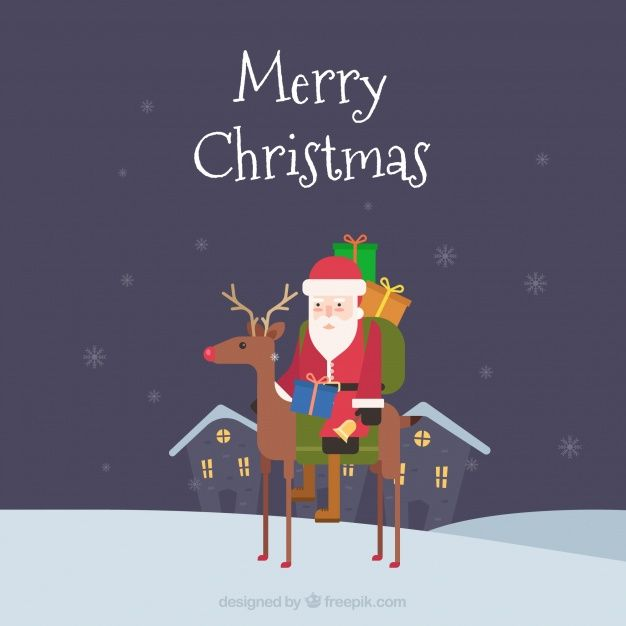 Merry christmas background with santa claus and reindeer #Free #Vector
