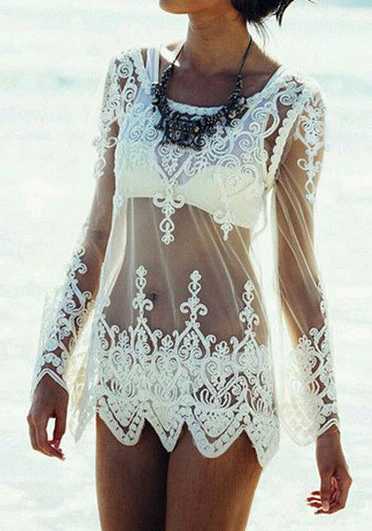 white embroidered cover up