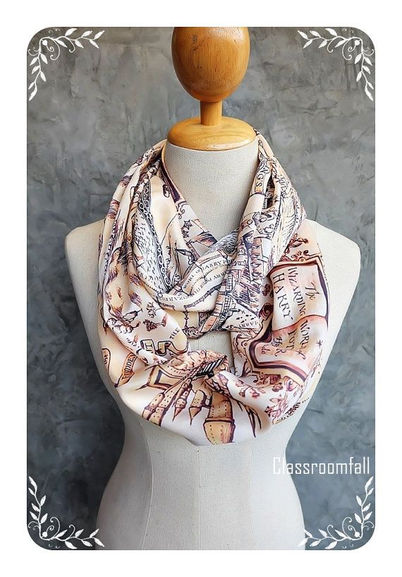 Harry Potter accessories and clothing for fall, including this adorable Marauder's Map infinity scarf!