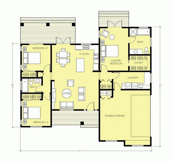 M s de 1000 ideas sobre casas americanas en pinterest for Planos de cocinas de 9 metros cuadrados