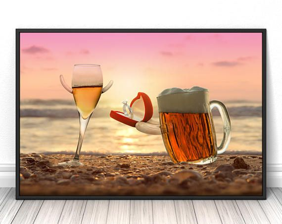 Romantic wall art, beer poster, high quality print, sunset photography, modern art, cute funny and cretive wall decor,16x20, 20x28, 24x36  #beer #champagne #valentinesday #engagement #wedding #love #print #poster #fineart #art #creative #unique #fineartphotography #fineartprint #wallart #livingroomdecor #walldecor #bedroomdecor