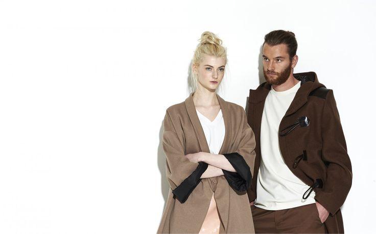 draped #Kimono and #Dufflecoat  #look #casualstyle #cozy #winter #fashion #lookbook #campain #fashionlabel  #NUSUM fw1516 Lookbook - fashion made in Hamburg