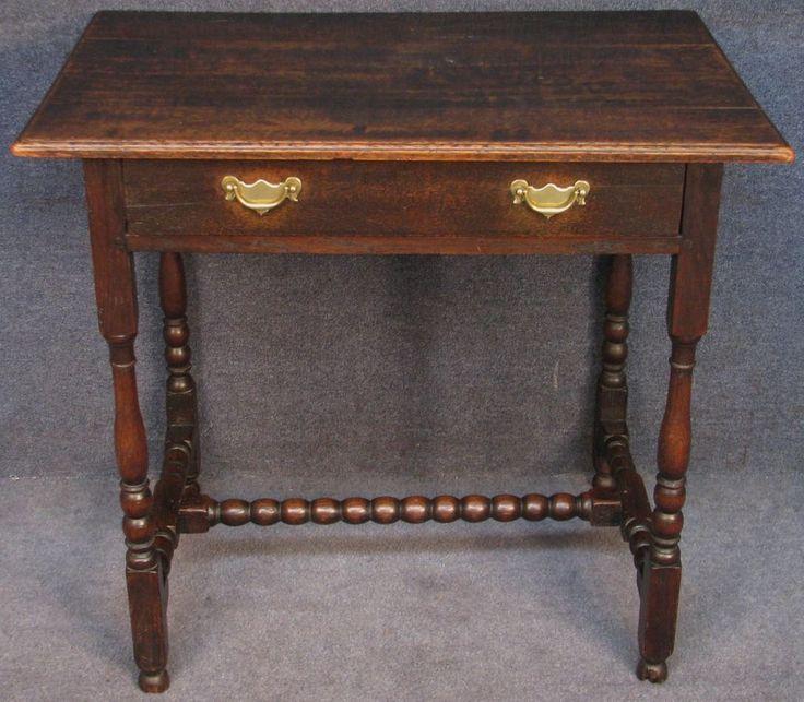 Georgian Solid Oak Single Drawer Side / Hall / Occasional Table #Georgian #SideHallOccasionalTable