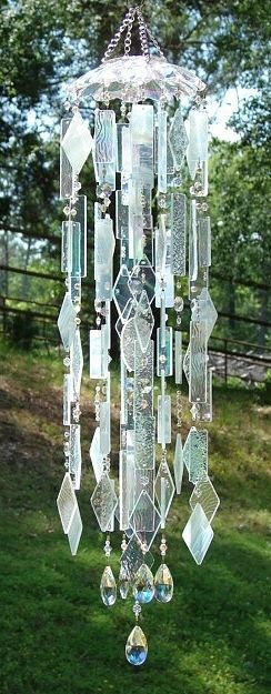 Special K Wind Chimes -Crystal Clouds - stained glass, OOAK window art