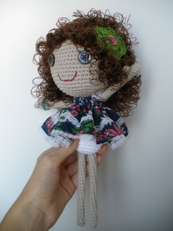 Brown and curly hair, amigurumi doll. Crocheted body ...