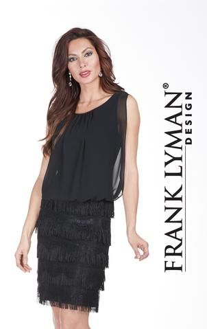 Stunning little black dress with fringe and lace detail. Proudly Made in Canada
