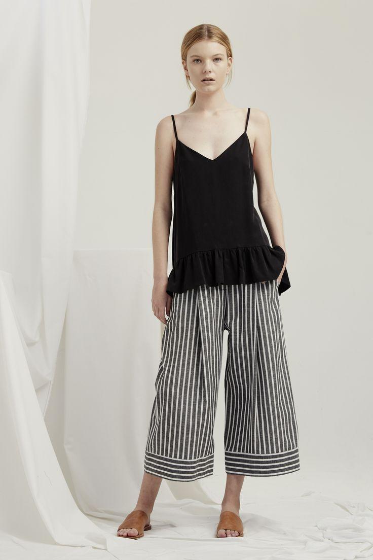 Parasol Top - Black Luna Pants - Grey Chambray Stripe
