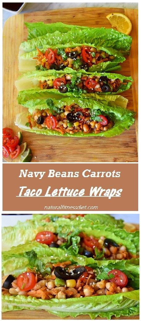 Healthy vegan taco lettuce wraps made with navy beans, carrots, peas and corn…