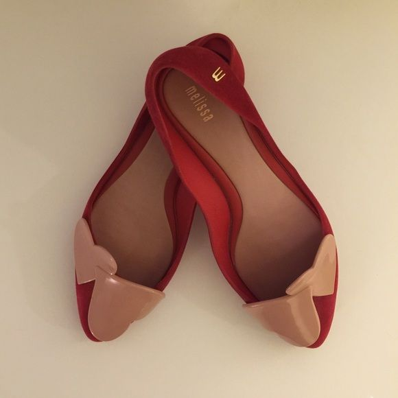 Cute Red Melissa Flat!  It's a pair of red Melissa flats in size 6. Condition: new without tag. Melissa Shoes