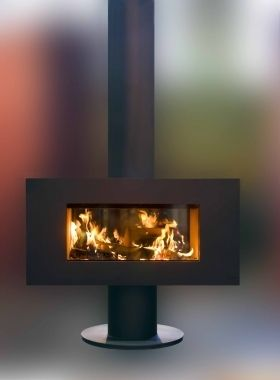 double sided wood burning stove