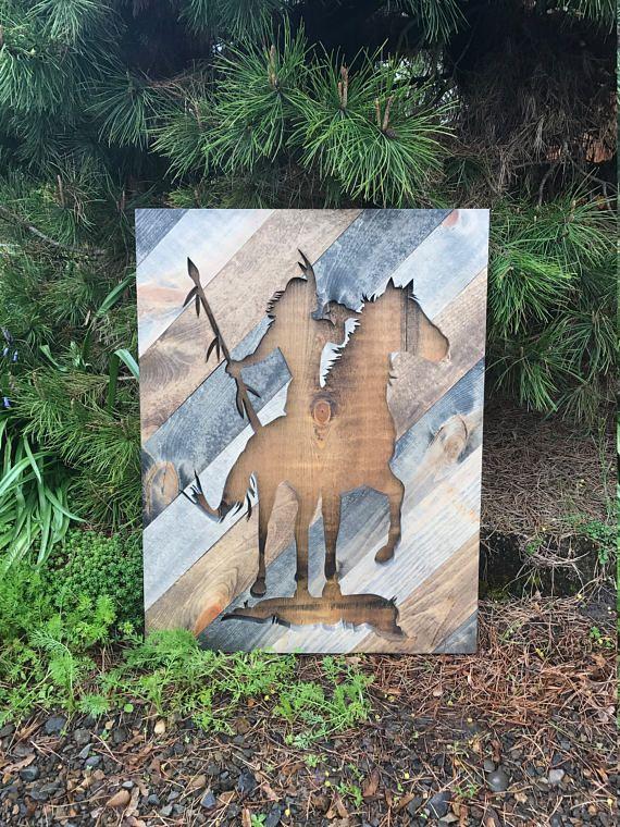 Rustic Indian Native American Silhouette Wood Wall Art by Bayocean Rustic Design