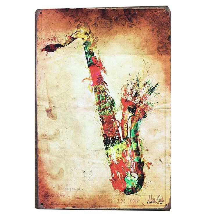 ==> [Free Shipping] Buy Best 6pcs vintage home decor abstract Guitar body Saxophone Bar Music Hall Adornment Metal painting Rimless painting refo vintage Online with LOWEST Price | 32706940117